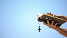 Hands Holding Bible And Rosary On Blue Background, Praying To God, Template