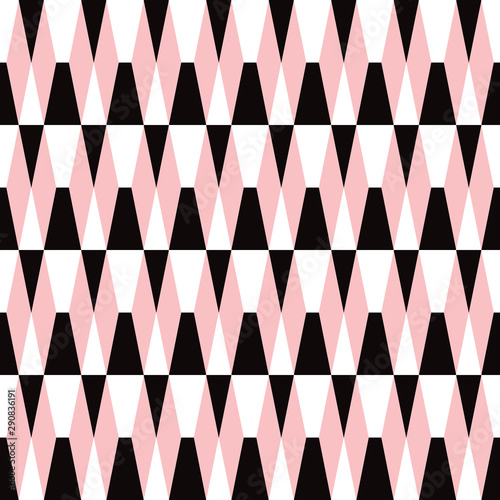 Bold geometric seamless tiled pattern in black, pink and white Wallpaper Mural