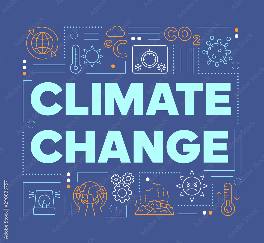 Fototapeta Climate changes word concepts banner. Presentation, website. Greenhouse effect and global warming. Isolated lettering typography idea with linear icons. Vector outline illustration