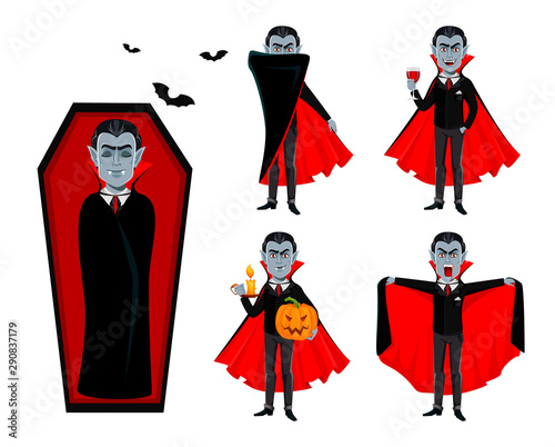Photo Happy Halloween. Handsome cartoon vampire