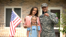 US Military Man With Family Sh...