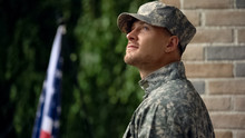 Happy Soldier Glad To Return B...