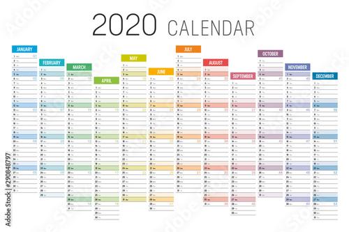 Valokuvatapetti Colorful 2020 horizontal unaligned calendar