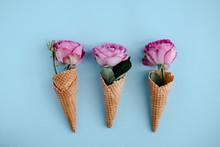 Three Pink Roses In Ice-cream ...