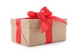 Leinwandbild Motiv Christmas gift box decorated with ribbon bow on white background