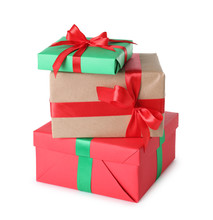Stack Of Christmas Gift Boxes On White Background