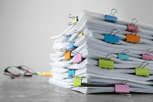 Stack Of Documents With Binder...