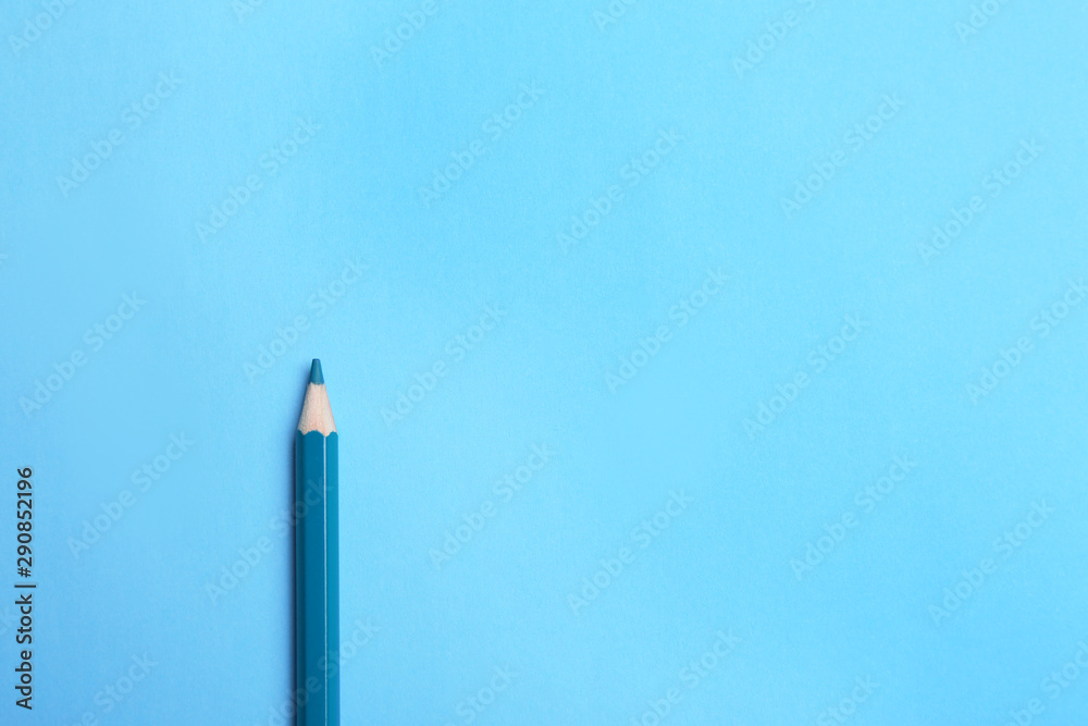 Fototapety, obrazy: Colorful pencil on light blue background, top view. Space for text