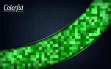 Modern Colorful Green Pixel Background. Dark Abstract Background