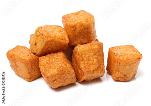 Fried tofu isolated on white background Canvas Print