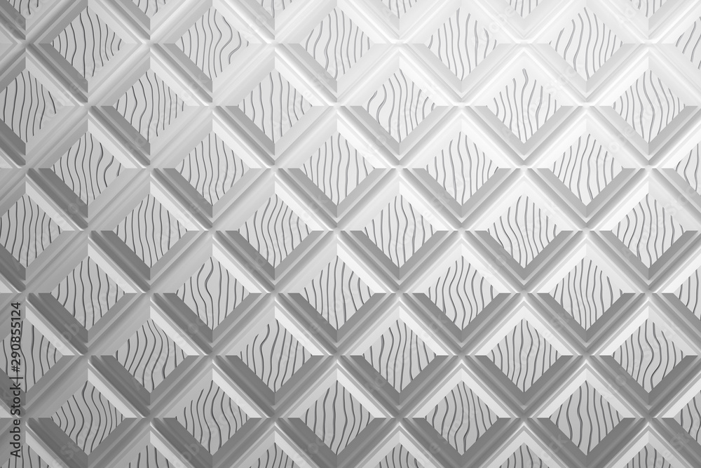 Clean elegant repeating white pattern made of squares rhombuses with unique wavy pattern of top of each. 3d illustration.