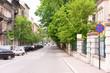 Krakow. Historic centre. Bernardynska Street. Old street with parked cars.