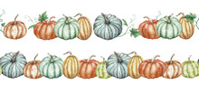 Two Seamless Watercolor Borders With Colorful Pumpkins. Botanical Patterns.