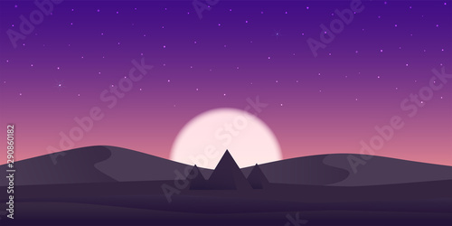 Poster Violet Colorful night sky pyramids. Pyramids in desert filled stars and moon.