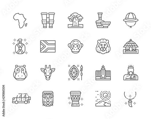 Cuadros en Lienzo Set of Africa Line Icons