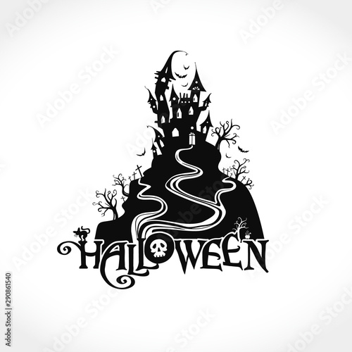 Fototapeta Kuchenna Halloween Vector Silhouette Illustration With A Ghost House Halloween Lettering Composition For Poster Card Party Invitation