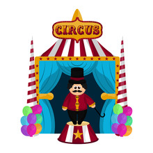 Circus Striped Tent With An An...