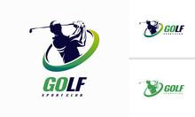 Golf Shield Logo Designs, Golf Sport Silhouette Logo Design Template