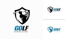 Golf Shield Emblem Badge Logo, Golf Sport Silhouette Logo Design Template