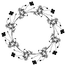 Round Floral Decor Or Frame. Wreath Of Poppy Flowers. Black Silhouette On White Background. Isolated Vector Illustration.