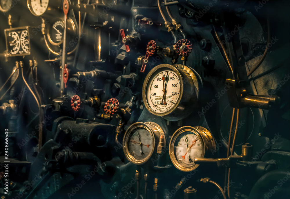 Steampunk Locomotive engineer's controls and gauges nobody