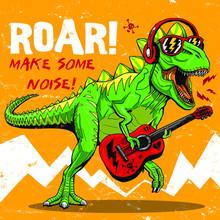 Cartoon Funny Dinosaur Illustration Graphic Design