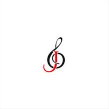 Music Ensemble, Musical Scale  With Letter J Logo Design Idea
