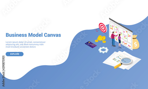 Photo  business model canvas concept with paper document and team people discussion mee