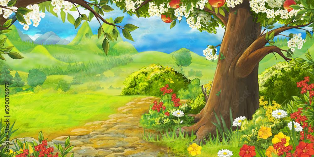 Fototapety, obrazy: cartoon summer scene with path in the forest or garden - nobody on scene - illustration for children