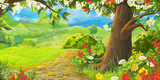 cartoon summer scene with path in the forest or garden - nobody on scene - illustration for children