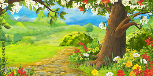 cartoon summer scene with path in the forest or garden - nobody on scene - illustration for children