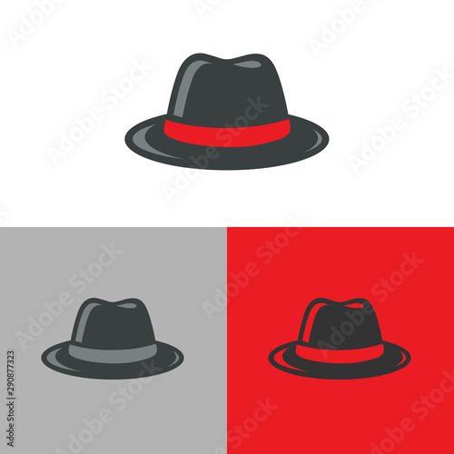 Fotografie, Obraz Retro fedora hat logo icon