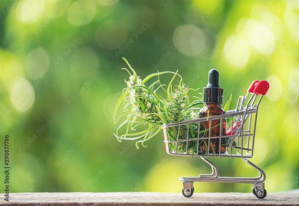 Fototapety, obrazy: cannabidiol (cbd) extract in a shopping cart