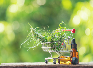 cannabidiol (cbd) extract in a shopping cart