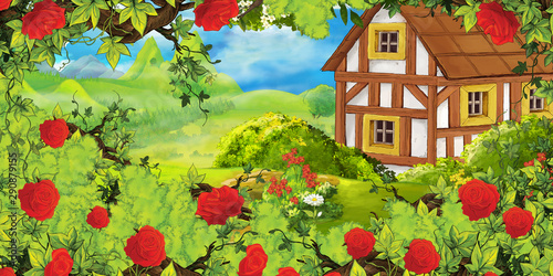 cartoon summer scene with path in the forest or garden old farm house and bush of roses - nobody on scene - illustration for children