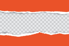 Orange Ripped Paper Background With Transparency Place For Your Text.