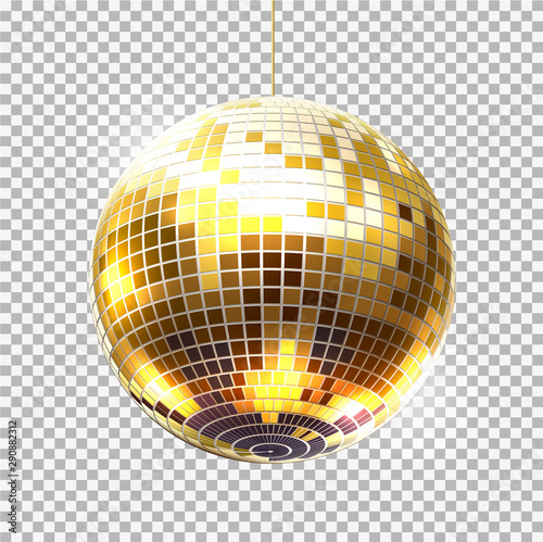 Vector golden party ball retro night club symbol - 290882312