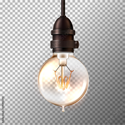 Vector retro light bulb on transparent background Wall mural