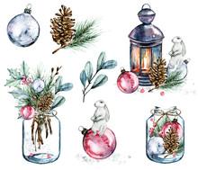 Christmas Set. Watercolor Illu...
