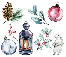 Christmas Set. Watercolor Illustrations. Isolated On White Background. Christmas Card Design. Hand Painting Winter Holidays Compositions.