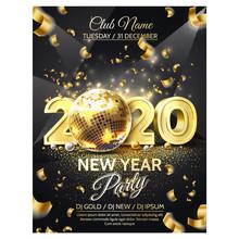 Vector 2020 New Year Party Golden Disco Ball