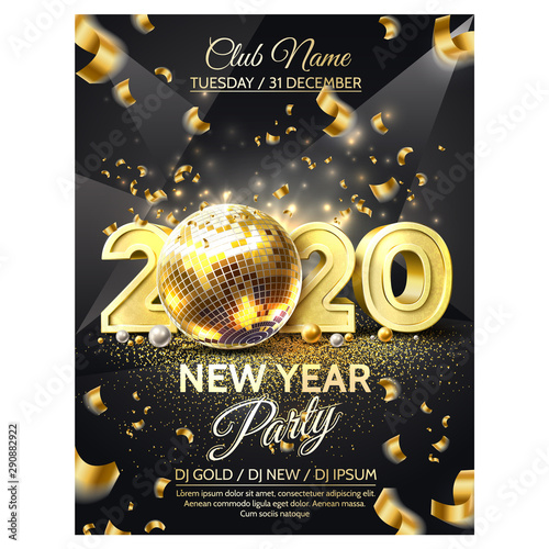 Photo Vector 2020 new year party golden disco ball