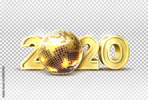 Vector 2020 new year party golden disco ball Canvas Print