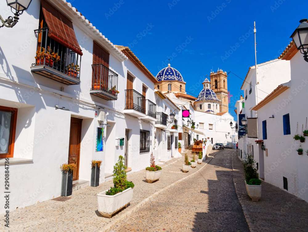 Beautiful narrow street of the old town of Altea. Spain.