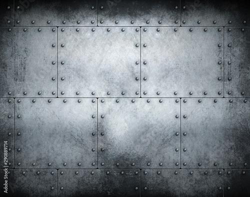 Stampa su Tela Dark steampunk metal background 3d illustration