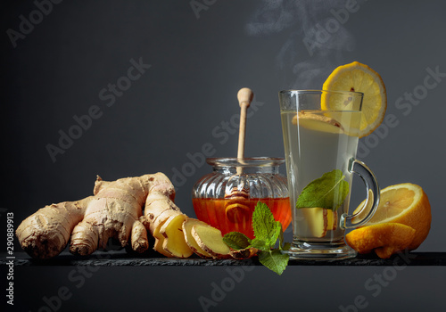 Ginger tea with lemon, mint and honey. Canvas Print