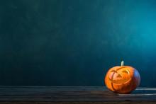 Halloween Pumpkin On Dark Back...