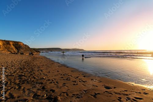 Fototapeta Sunset and landscape of widemouth bay near bude cornwall