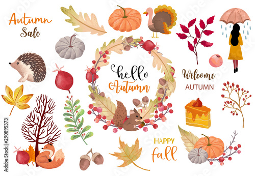 fototapeta na lodówkę Autumn object collection with pumpkin,hedgehog,woman.Illustration for sticker,postcard,invitation,element website.Included hello autumn and happy fall wording