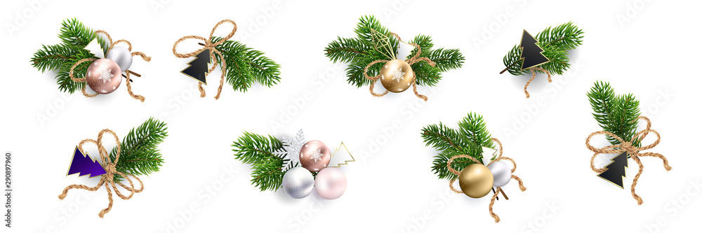 Fototapeta Christmas decoration. Xmas Bouquets and wreaths